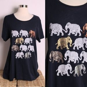 J. Crew Collector's Tee Navy Elephant Parade XL